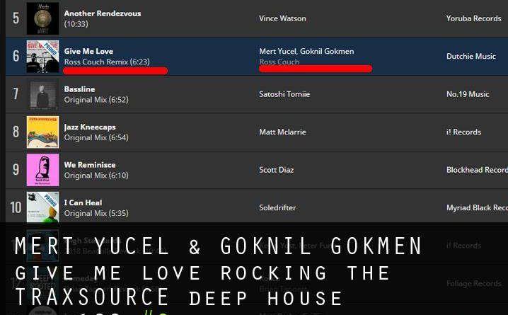 "Mert Yücel & Göknil Gökmen ""give me love"" Traxsource Deep House Top100 listesinde 6 numarada"