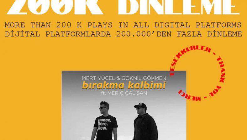"""Mert Yücel & Göknil Gökmen feat. Meriç Çalışan """"Bırakma Kalbimi"""" tüm dijital platformlarda toplam 200K dinlenmeyi geçti."""